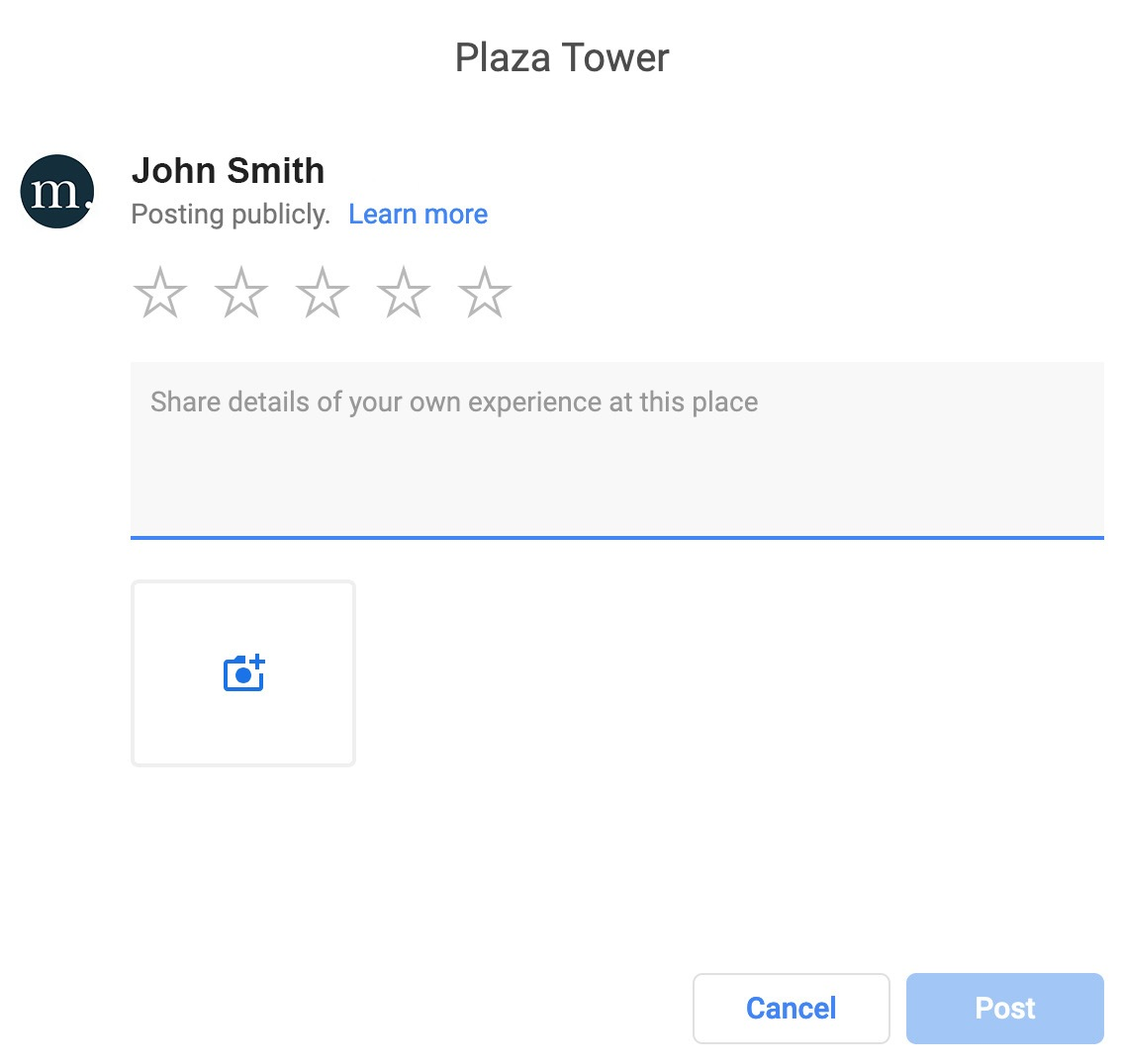 plaza tower seo google my business response