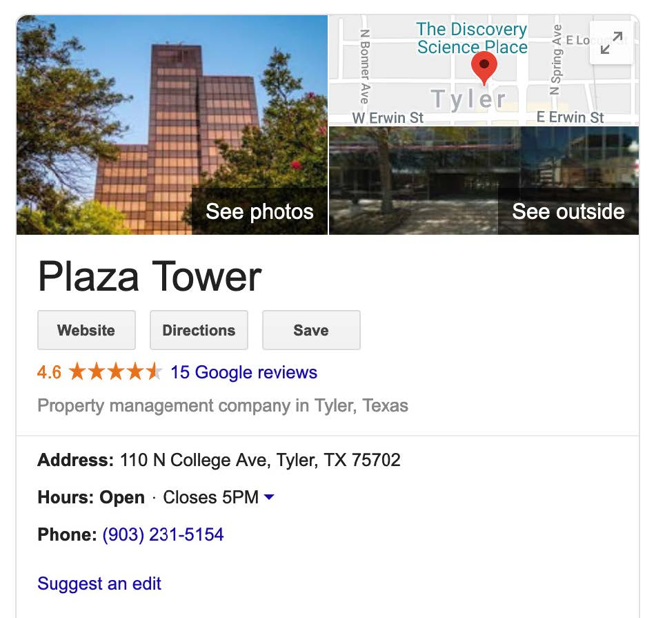 SEO for Plaza Tower