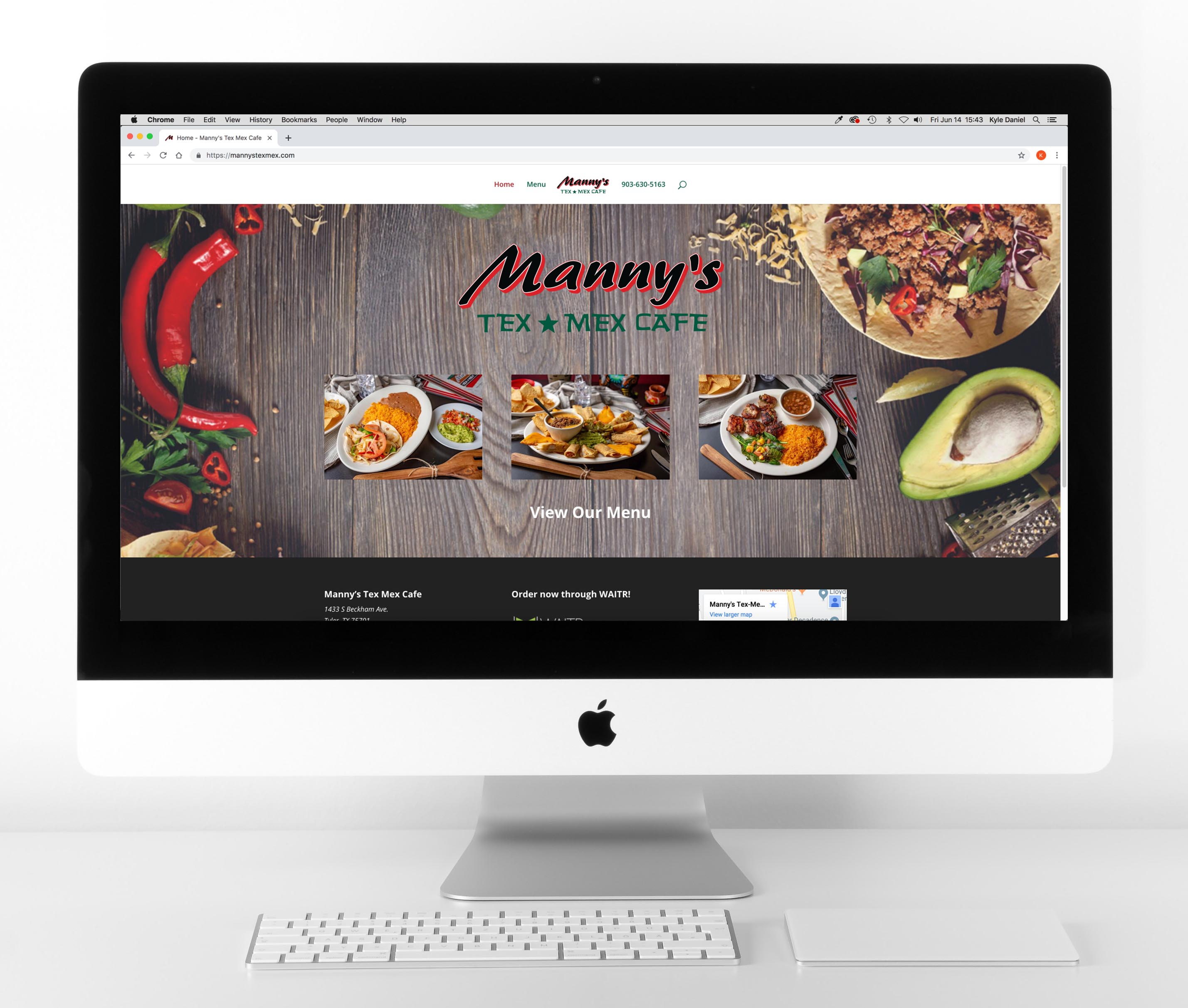 Mannys Tex Mex Website Mockup